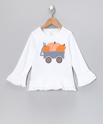 White Pumpkin Ruffle Tee - Infant, Toddler & Girls