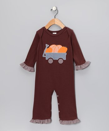 Brown Pumpkin Ruffle Playsuit - Infant & Toddler