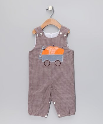 Brown Pumpkin Overalls - Infant & Toddler