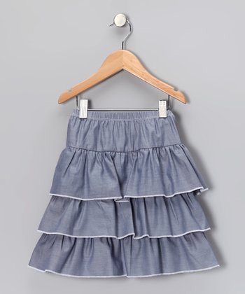 Blue Tiered Ruffle Skirt - Girls