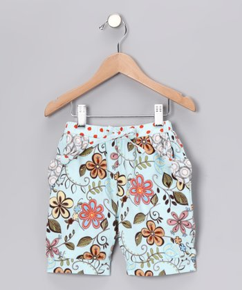 Aqua Floral Pocket Shorts - Toddler & Girls
