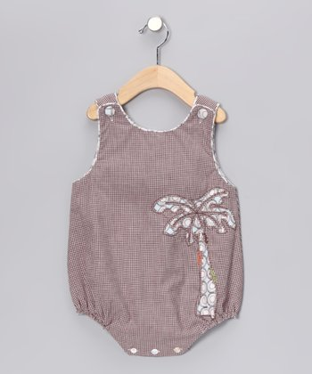 Brown Gingham Bubble Bodysuit - Infant