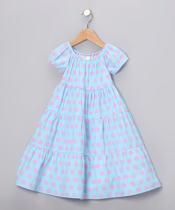 Blue & Pink Tiered Dress - Infant, Toddler & Girls