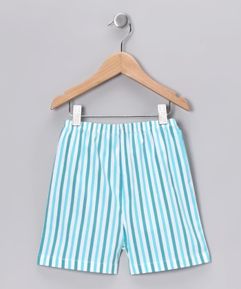 Aqua Stripe Shorts - Infant