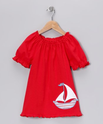 Red Sailboat Peasant Tee - Infant