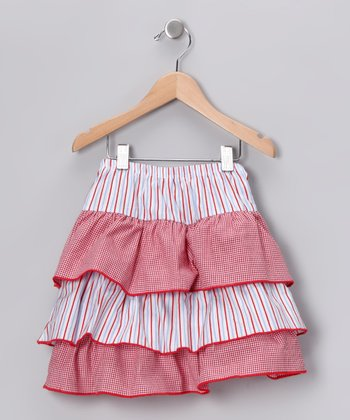 Red & Blue Ruffle Skirt - Toddler