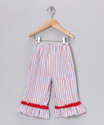 Red & Blue Stripe Ruffle Capri Pants - Infant & Toddler