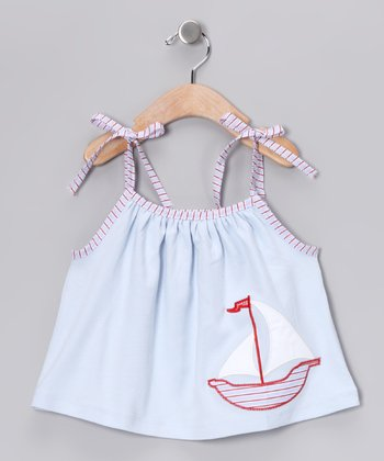 Blue Sailboat Tie Top - Infant, Toddler & Girls