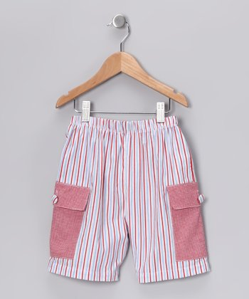 Red & Blue Stripe Cargo Shorts - Infant, Toddler & Boys
