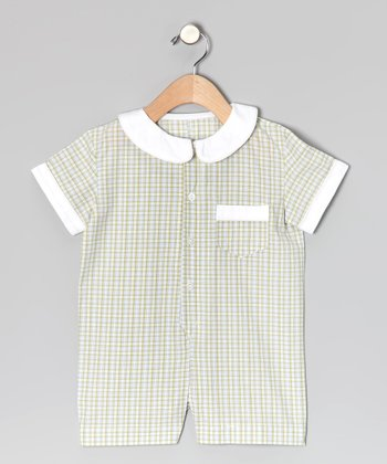 Green Plaid Button-Up Romper - Infant
