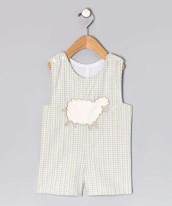 Green Plaid Sheep Shortalls - Infant