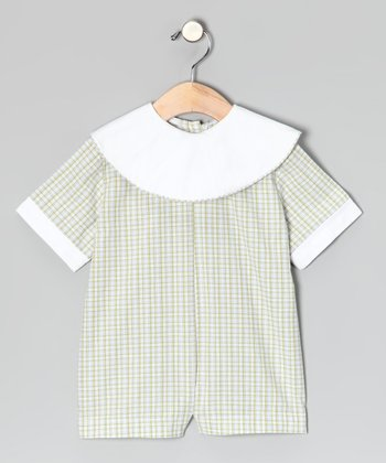 Green Plaid Collar Romper - Infant & Toddler