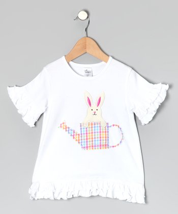 White Ruffle Bunny Crewneck Tee - Infant, Toddler & Girls