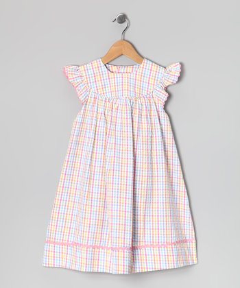 Pink & Yellow Plaid Angel-Sleeve Dress - Infant & Toddler