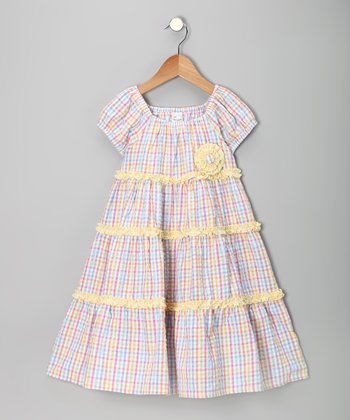 Pink & Yellow Seersucker Tiered Dress - Infant, Toddler & Girls