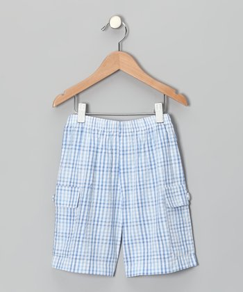 Blue Plaid Cargo Shorts - Infant & Boys