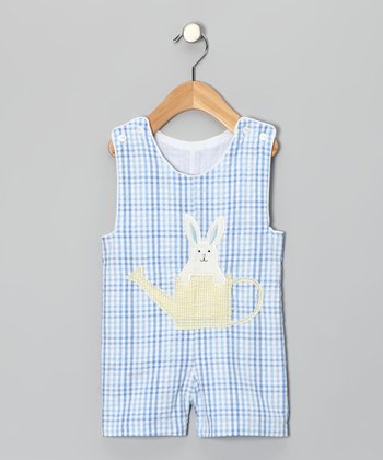 Blue Plaid Bunny Shortalls - Infant & Toddler