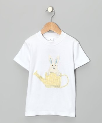 White & Yellow Bunny Crewneck Tee - Toddler & Girls