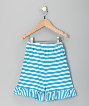 Aqua Stripe Shorts - Infant, Toddler & Girls