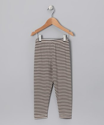 Cream & Brown Stripe Leggings - Toddler & Girls
