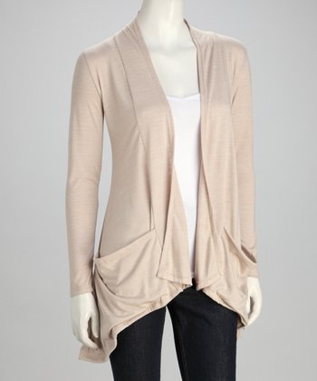 Khaki Pocket Open Cardigan