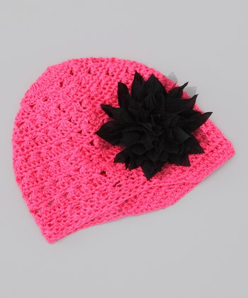 Watermelon & Black Flower Crocheted Beanie