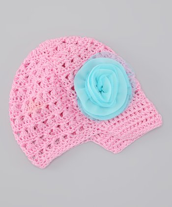 Cotton Candy & Aqua Rose Crocheted Beanie