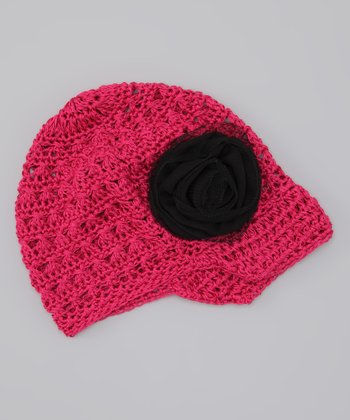 Shocking Pink & Black Rose Crocheted Beanie