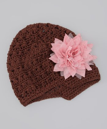 Brown & Pale Pink Flower Crocheted Beanie
