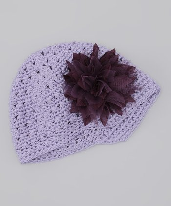 Plum Pudding Flower Crocheted Beanie