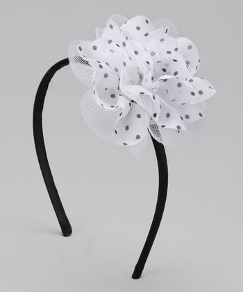 White & Black Polka Dot Chiffon Flower Headband