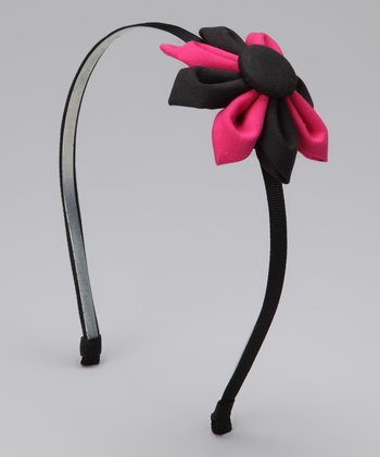 Black & Shocking Pink Folded Flower Headband