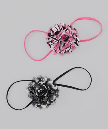 Hot Pink Zebra & Black Cheetah Skinny Headband Set