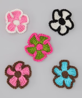 Crocheted Flower Clip Set