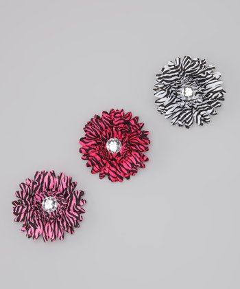 Zebra Flower Clip Set