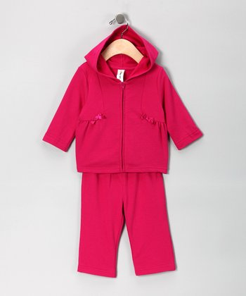 Fuchsia French Terry Zip-Up Hoodie & Pants - Infant