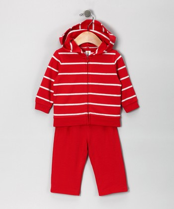 Red Stripe French Terry Zip-Up Hoodie & Pants - Infant
