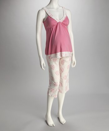 Rose Maternity & Nursing Camisole & Capri Lounge Pants