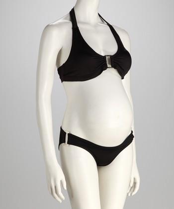 Belabumbum Black Maternity Halter Bikini
