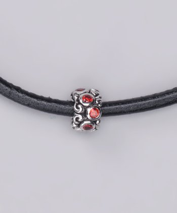 Sterling Silver & Red Cubic Zirconia Charm Bead