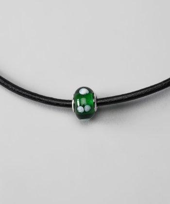 Green & White Glass Charm Bead