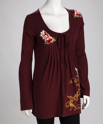 Merlot Embroidered Tunic