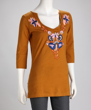 Earth Embroidered Floral Three-Quarter Sleeve Top