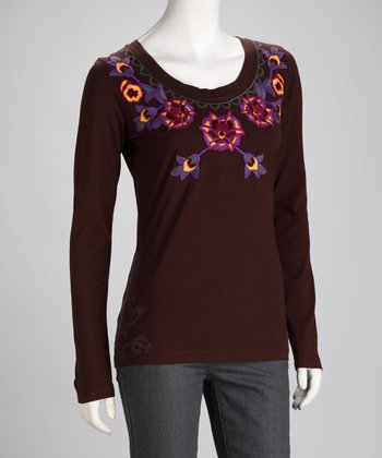 Brown Embroidered Floral Long-Sleeve Top