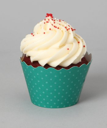 Emerald Green Polka Dot Cupcake Wrapper - Set of 24