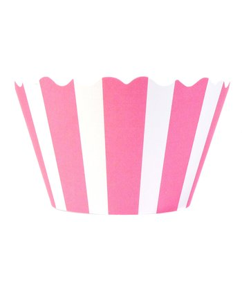 Pink & White Stripe Cupcake Wrapper - Set of 24