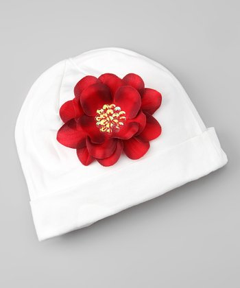 White & Red Sequin Flower Beanie