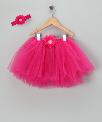 Hot Pink Sequin Flower Tutu & Headband - Toddler & Girls