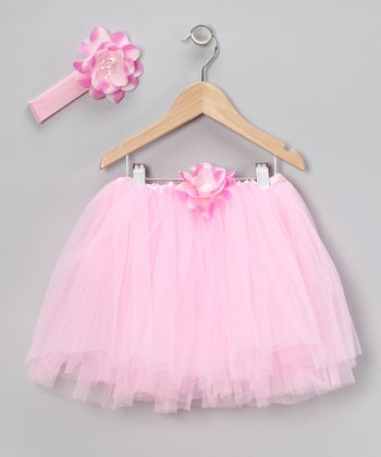 Pink Sequin Flower Tutu & Headband