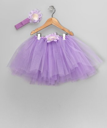Lavender Sequin Flower Tutu & Headband